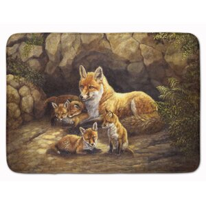 Fox Family Foxes by the Den Memory Foam Bath Rug
