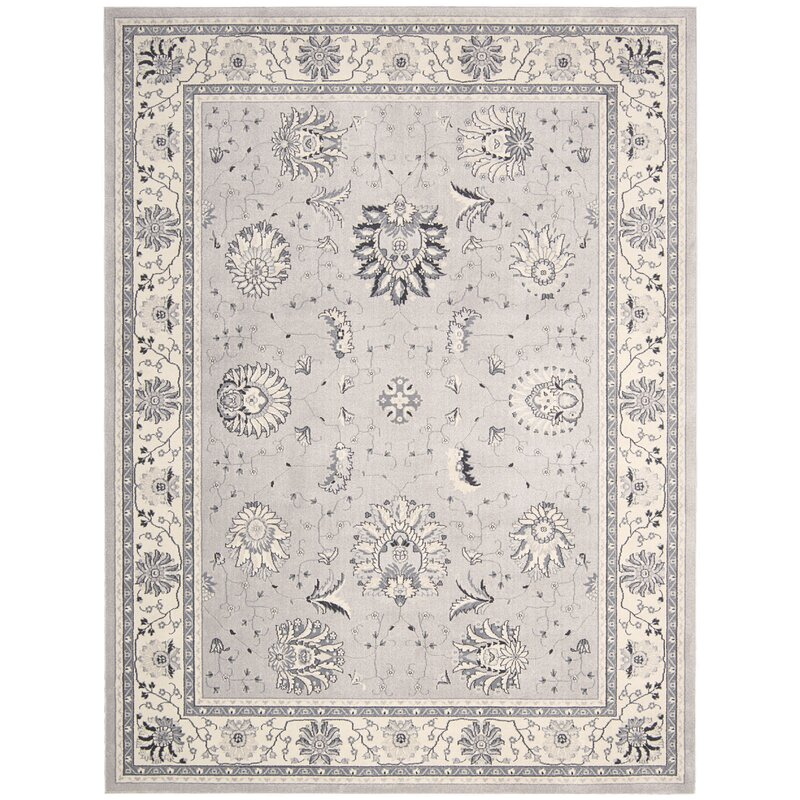 Alcott Hill Lamarche Silver Area Rug, Size: Rectangle 93 x 129