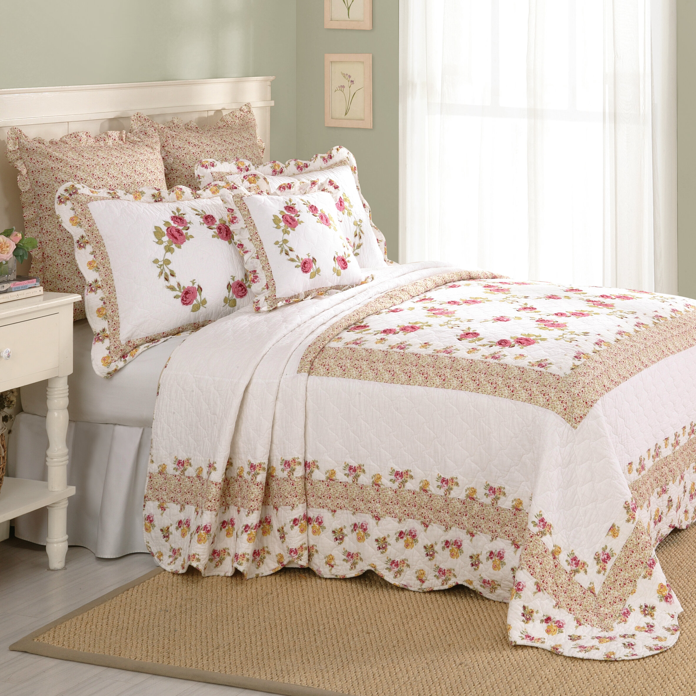 p quilted light quilt bedspread cream felisa embroidered floral