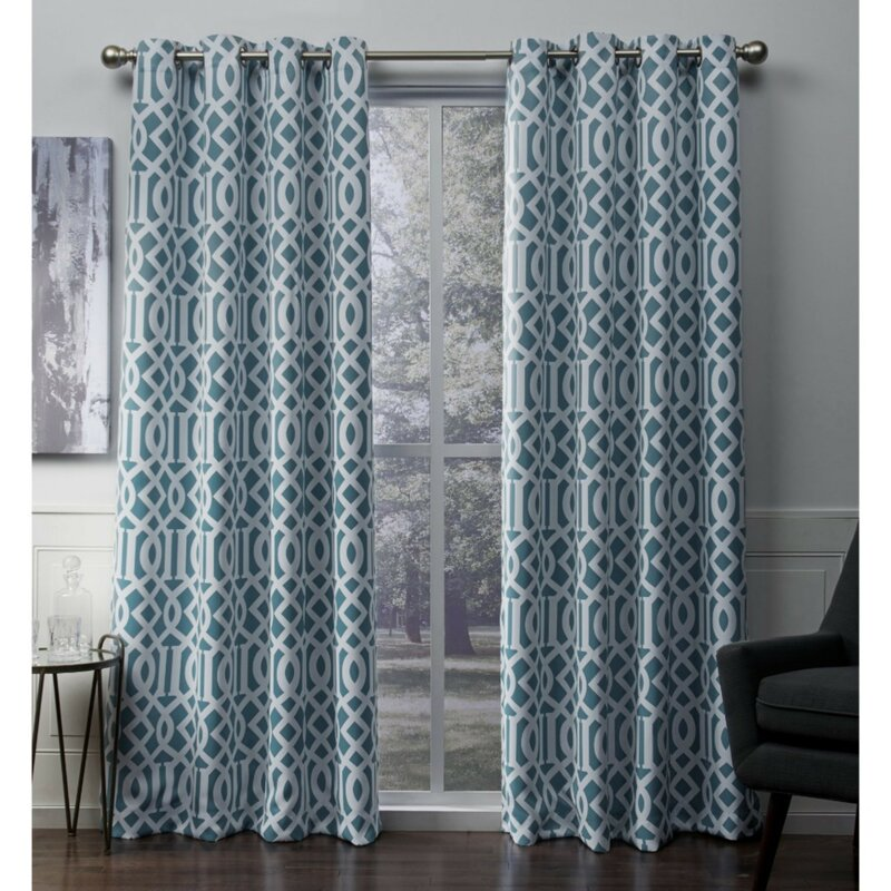 Scrollwork Geometric Blackout Thermal Grommet Curtain Panels