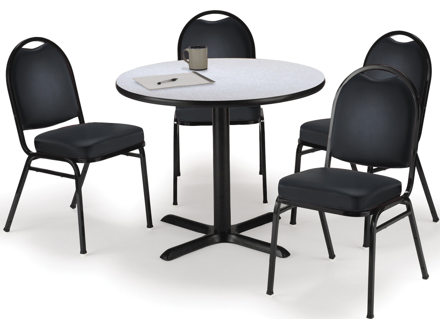 kfi seating round cafeteria table and chair set wayfair