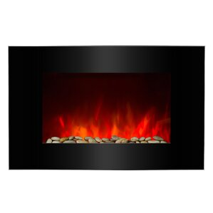 Piano Black Wall Mount Electric Fireplace by AKDY