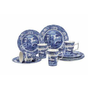 e27c3a988d47 Blue Italian 12 Piece Bone China Dinnerware Set, Service for 4