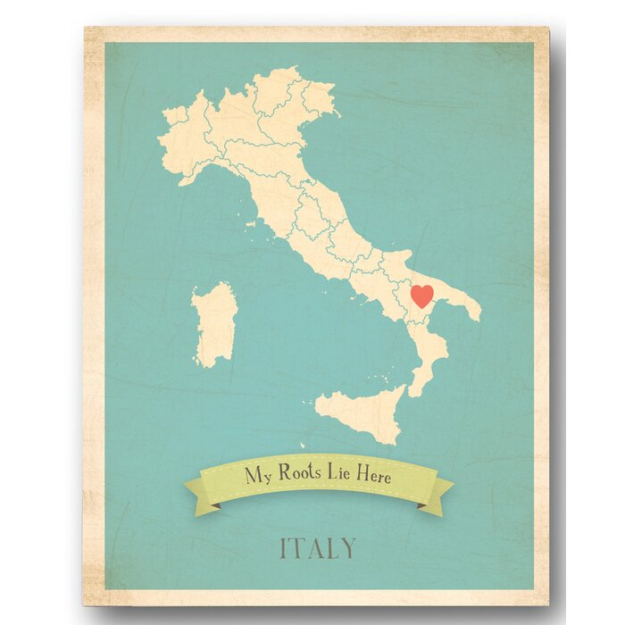 Map Of Italy For Children.My Roots Italy Personalized Map Graphic Canvas Art