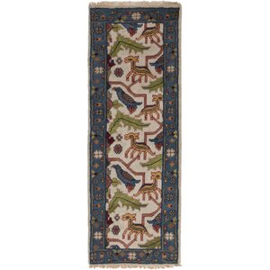 One-of-a-Kind Larsen Hand-Knotted Runner Cream Area Rug