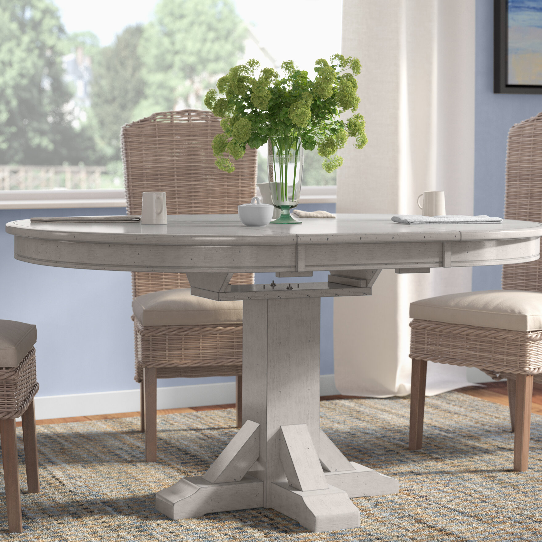 Rosecliff Heights Rutledge Pedestal Extendable Solid Wood Dining Table Reviews Wayfair