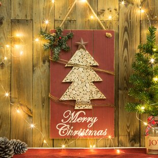 wooden christmas tree sign wall dcor - Christmas Decor Signs