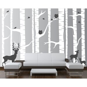 22 Piece Birch Tree Wall Decal Set Part 97
