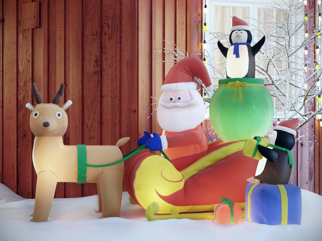 Superb Christmas Inflatable Santa With Reindeer