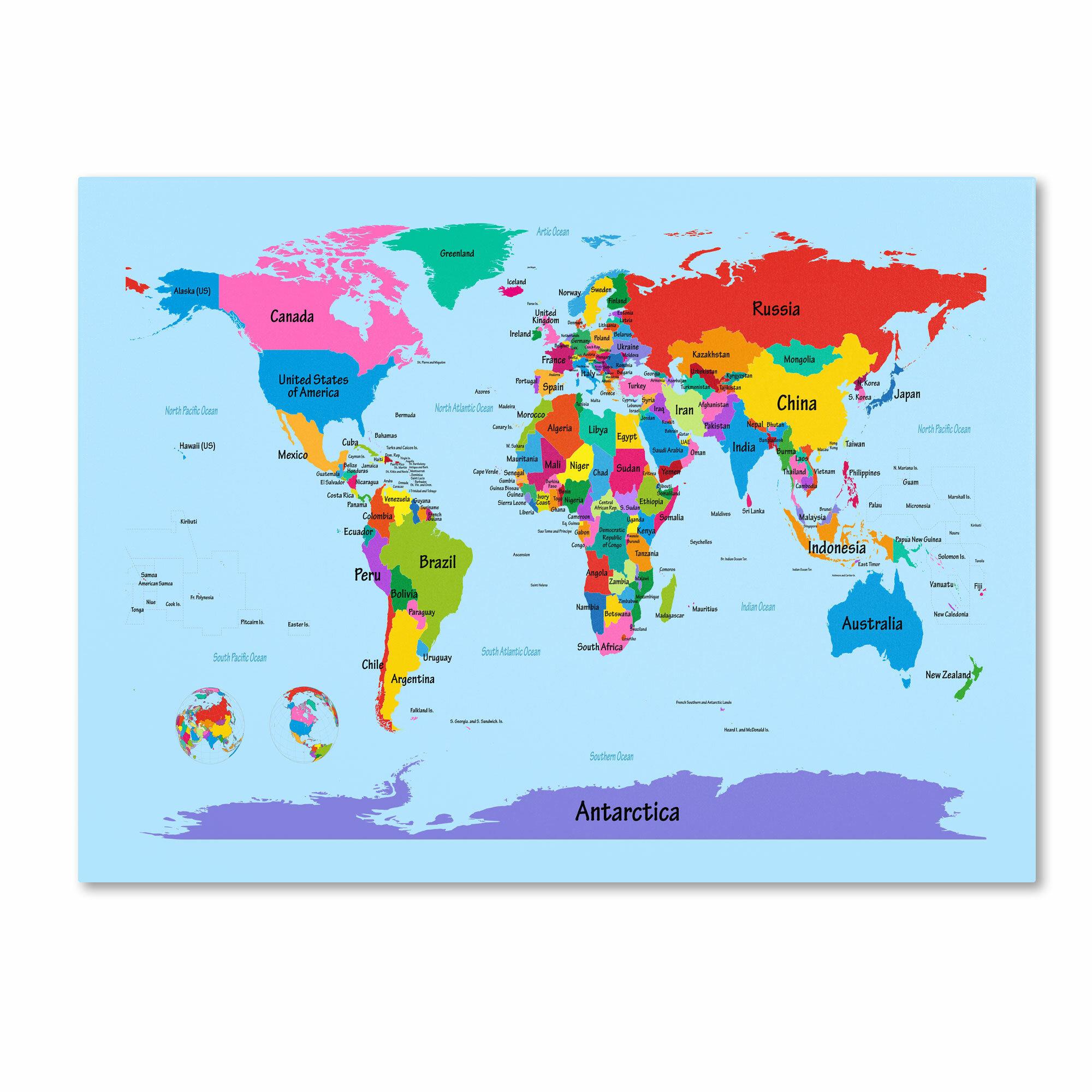 Trademark art childrens world map by michael tompsett framed trademark art childrens world map by michael tompsett framed graphic art on wrapped canvas reviews wayfair gumiabroncs Gallery