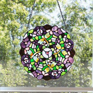 Tiffany Style Stained Glass Pansy Window Panel