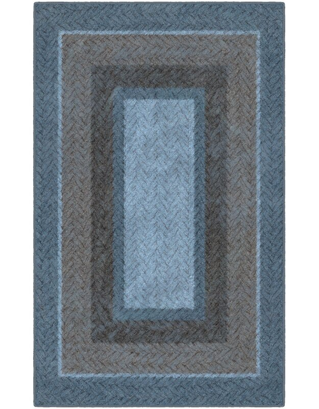 Winston Porter Noah Braided Printed Blue/Brown Area Rug, Size: Rectangle 76 x 10