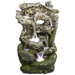 Fiberglass/Polystone Rainforest Waterfall Fountain With LED Light