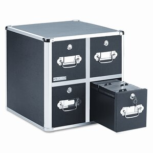 Four-Drawer CD File with Key Lock Holds 660 Discs, 14-1/2 x 15 x 14-3/4, B..