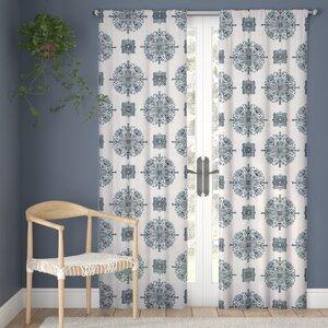 Fanchone Damask Room Darkening Rod Pocket Single Curtain Panel