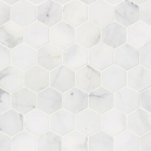 Calacatta Cressa Hex Honed 2 X Marble Mosaic Tile In White