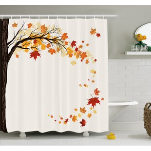 Fall Leaf Group Motion In Mother Earth Transition From Summer To Winter Decor Shower Curtain Set