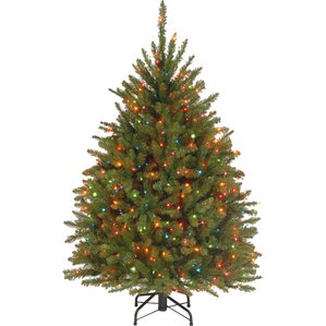 45 hinged green artificial christmas tree with 450 multicolored lights - Christmas Trees With Lights