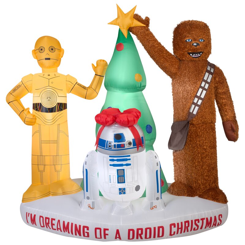 airblown mixed media droids and chewbacca with tree scene large star wars inflatable - Star Wars Inflatable Christmas Decorations