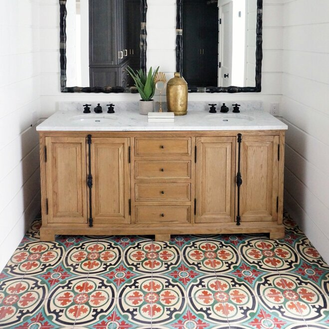 16 bathroom floors that pull off pattern wayfair rh wayfair com pictures of master bathroom floors pictures of mosaic bathroom floors