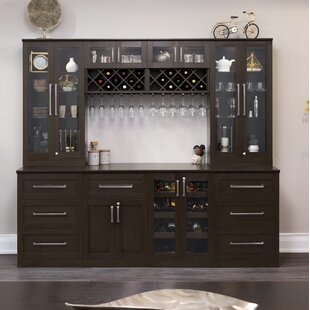 Home Series Shaker Style Back Bar With Wine Storage
