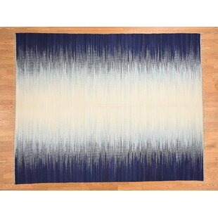 One-of-a-Kind Jacksonburg Ocean Burst Handmade Kilim 10'1 x 14'1 Wool Blue/White Area Rug Isabelline