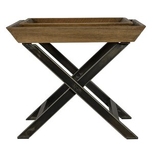 Union Rustic Richardson End Table with Tray Top