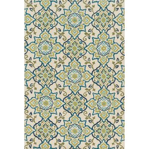 Francesca Hand-Hooked Green/Blue Area Rug