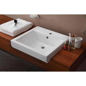 Semi Recessed Rectangular Vessel Bathroom Sink with OverflowKohler Semi Recessed Sink   Wayfair. Recessed Bathroom Sinks. Home Design Ideas