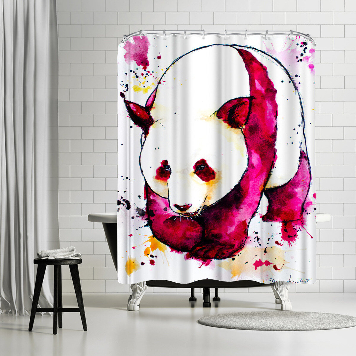 East Urban Home Allison Gray Panda Bear Shower Curtain