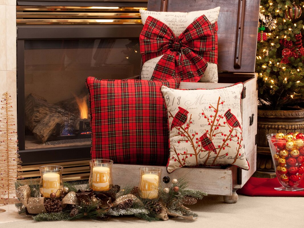 The Holiday Aisle Holiday Plaid Bowknot Throw Pillow