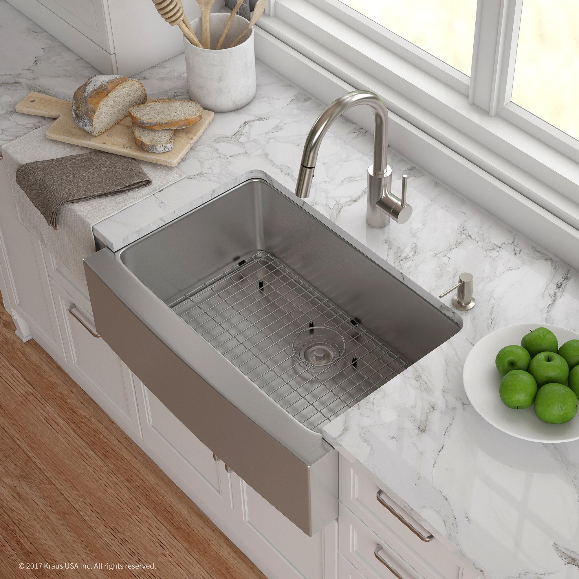 """Kraus Handmade Series 29 75"""" x 20 75"""" Farmhouse Kitchen Sink with"""
