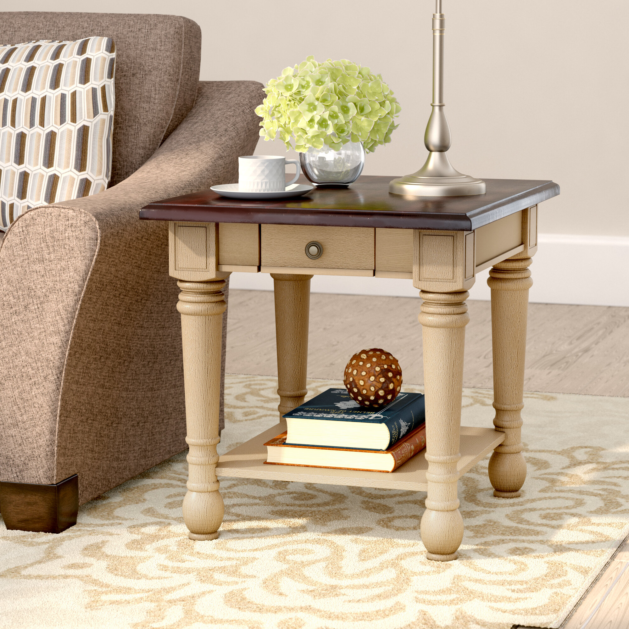 Superior Three Posts Classic Two Tone End Table With Storage U0026 Reviews | Wayfair