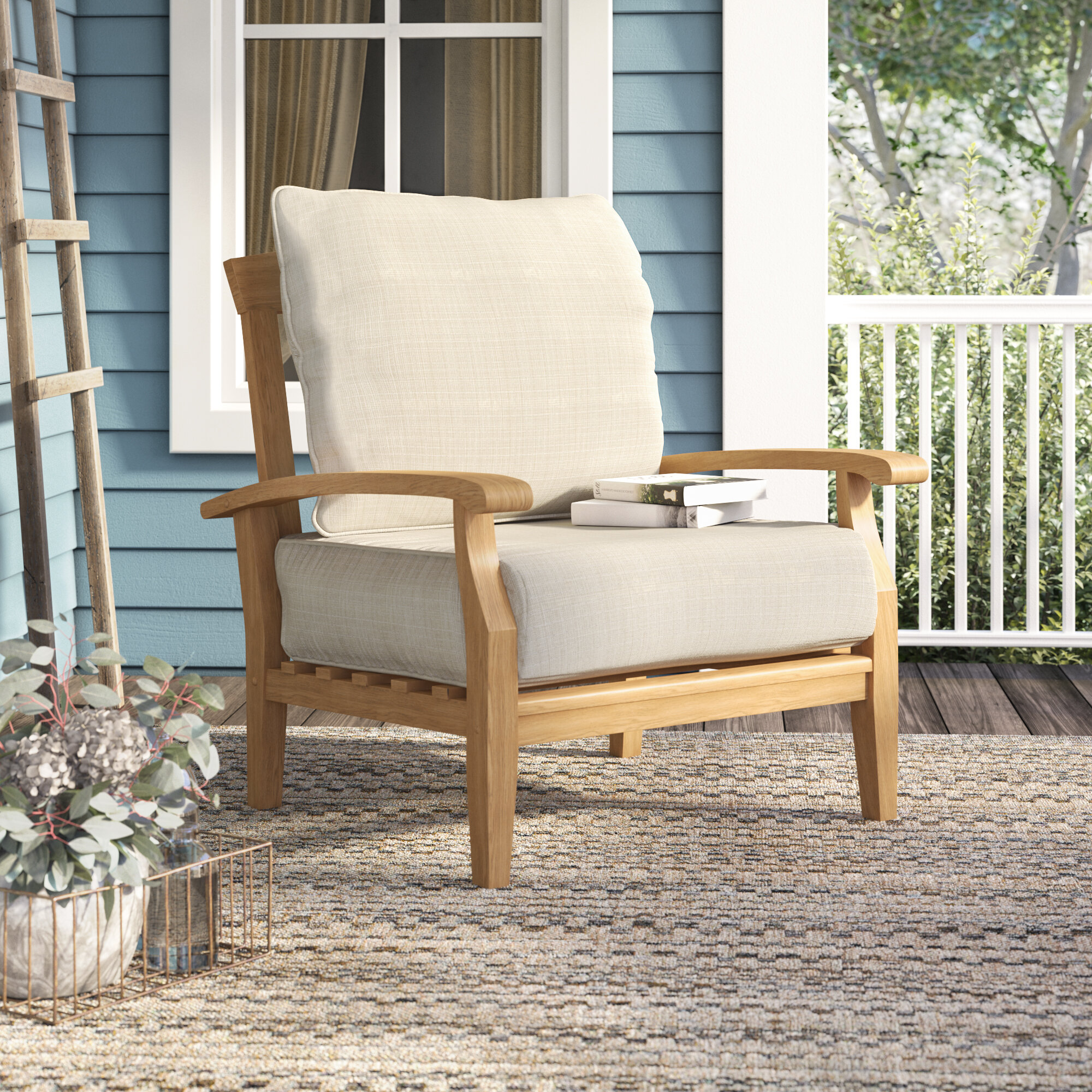 Birch lane heritage summerton teak patio chair with cushions reviews birch lane