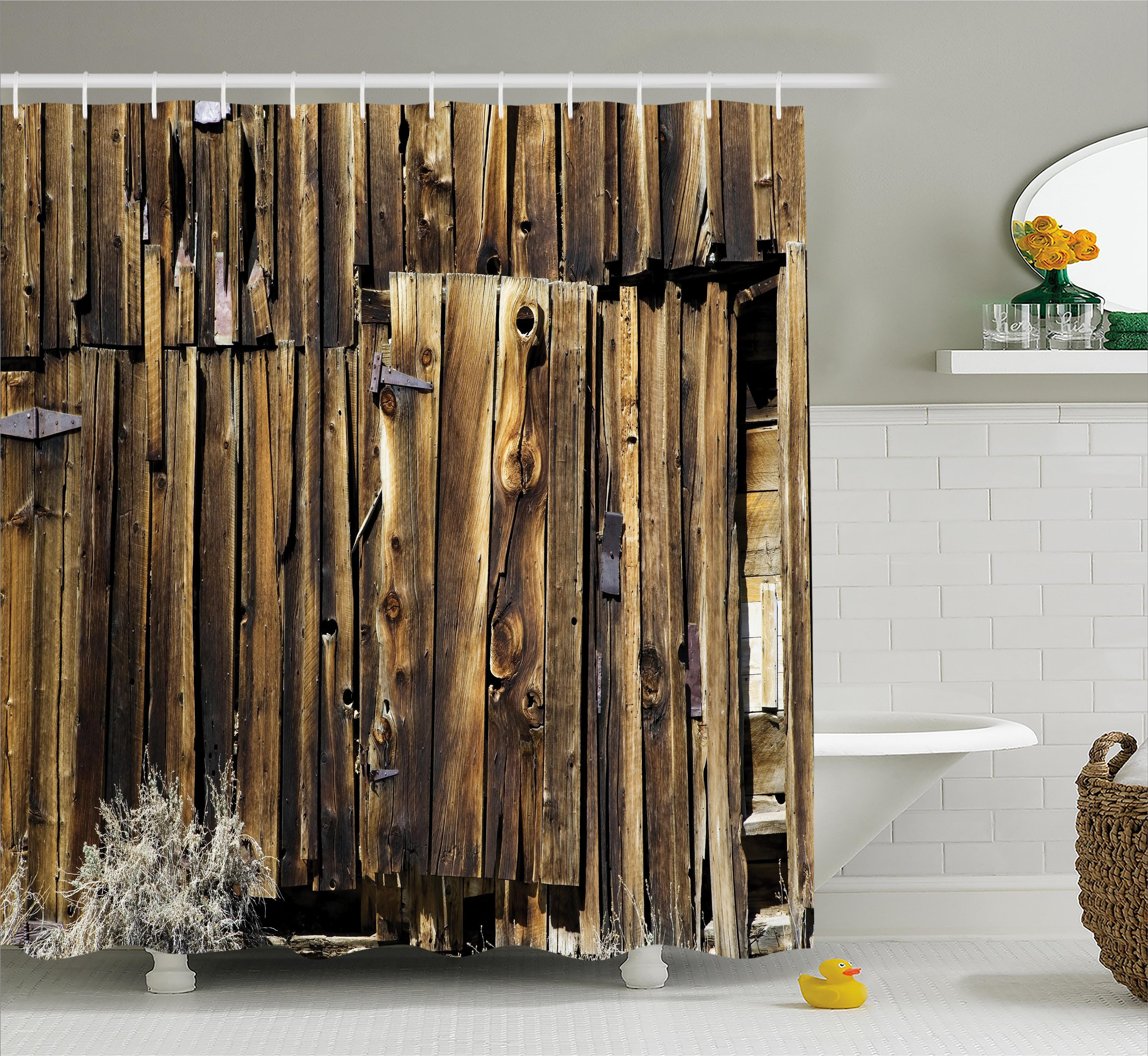 East Urban Home Rustic Oak Barn Timber Door Shower Curtain Reviews