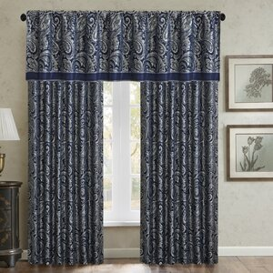 Pokanoket Paisley Semi-Sheer Rod Pocket Curtain Panels (Set of 2)