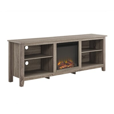 Beachcrest Home Sunbury TV Stand for TVs up to 70 with optional Fireplace Color: Driftwood, Fireplace Included: Yes