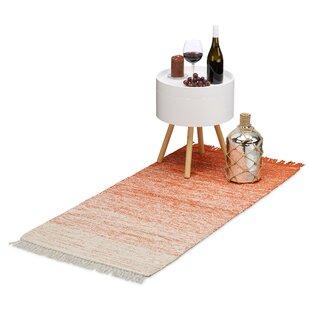 Rag Hallway Floor Handwoven Cotton Red White Rug