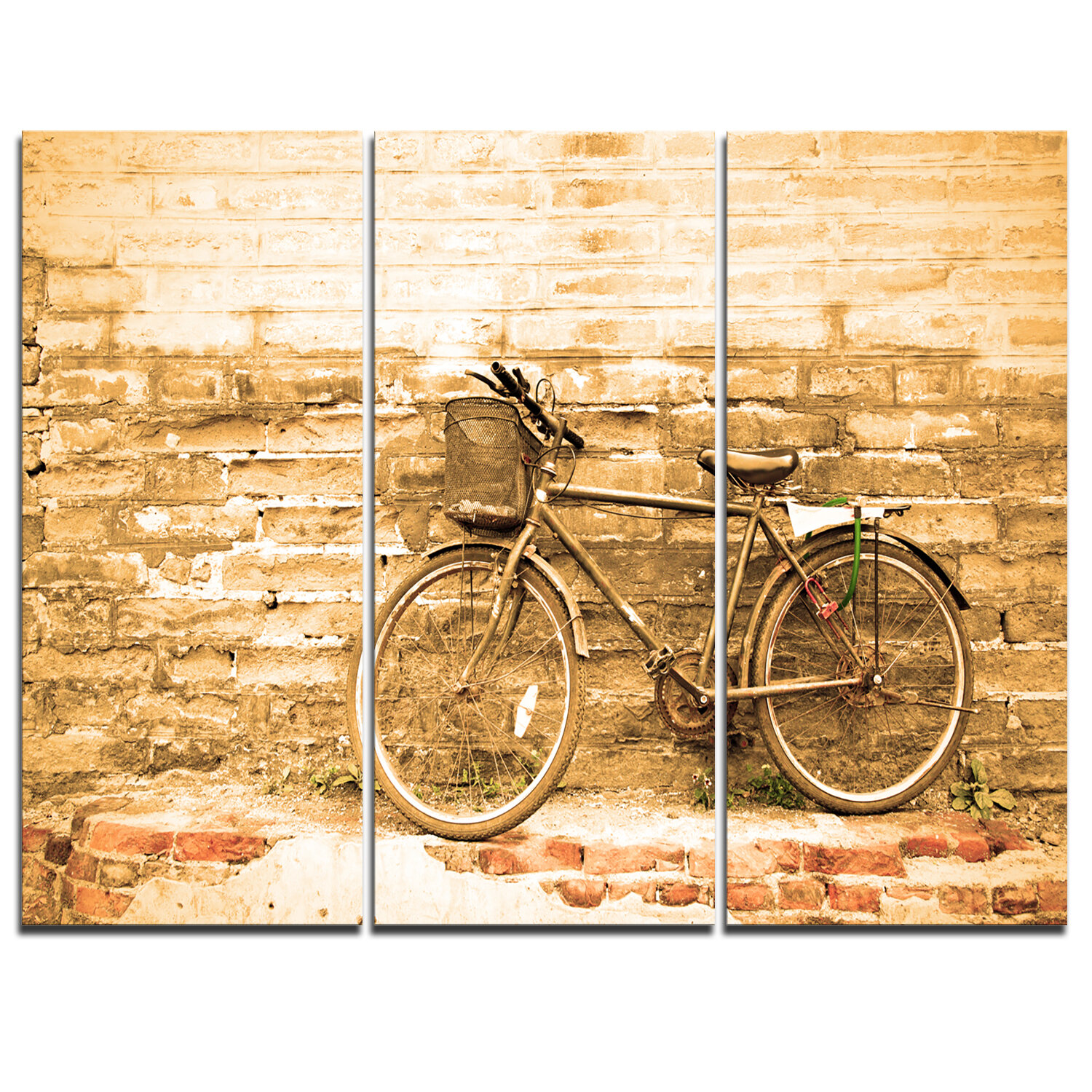 DesignArt Vintage Bicycle against Brown Wall - 3 Piece Graphic Art ...