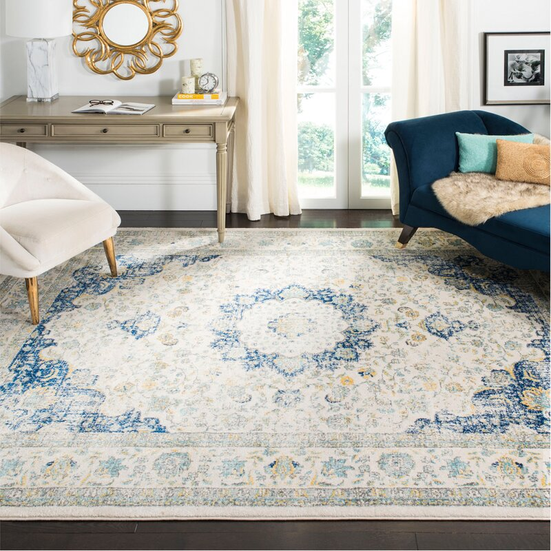 Elson Ivory Amp Blue Area Rug Amp Reviews Birch Lane