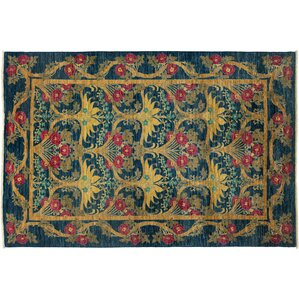 Elegant One Of A Kind Arts And Crafts Hand Knotted Blue Area Rug