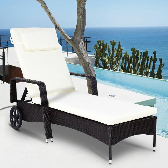 Tion Patio Furniture Adjustable Wheels Reclining Chaise Lounge With Cushion