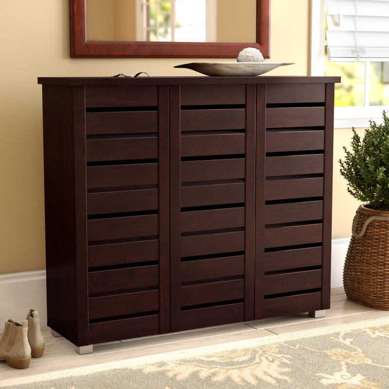 Wooden Shoe Cabinet ~ Darby home co pair slatted shoe storage cabinet
