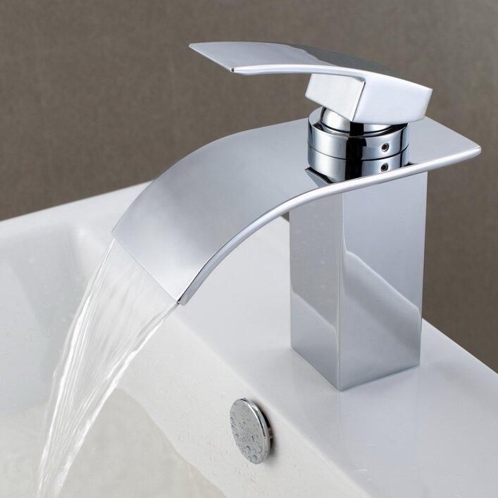 Sumerain Single Handle Deck Mount Waterfall Bathroom Sink Faucet ...