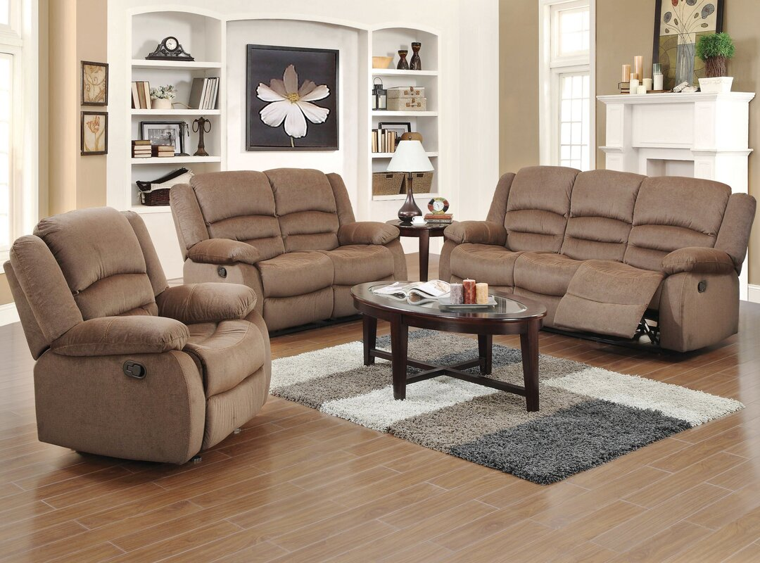 Red barrel studio maxine 3 piece living room set reviews for Living room ideas with 3 sofas