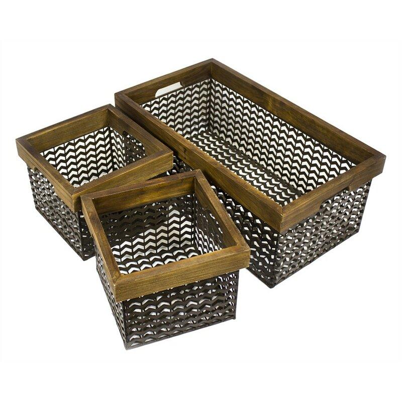 17 Stories Spacious 3 Piece Metal/Wire Basket Set