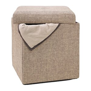 Bessey Natural Single Folding Storage Cube Ottoman by Andover Mills