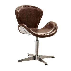 Annessia Top Grain Leather Swivel Side Chair..