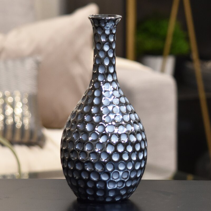 Urban Trends Ceramic Vase With Neck And Round Belly Lg Dimpled