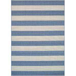 Beautiful Gallinas Blue Striped Indoor/Outdoor Area Rug